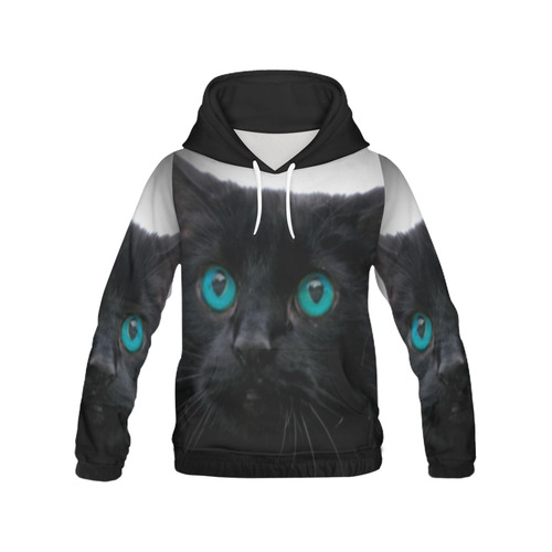 Black cat blue eyes by Martina Webster All Over Print Hoodie for Women (USA Size) (Model H13)
