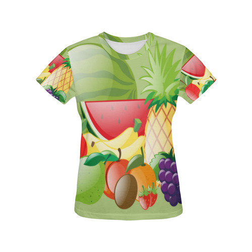 Fruit Watermelon Bananas Grapes Pineapple All Over Print T-Shirt for Women (USA Size) (Model T40)