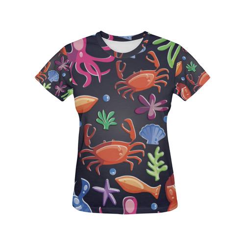 da40cbac6a4 Sea Life Octopus Crab Sea Horse All Over Print T-Shirt for Women (USA Size)  (Model T40)