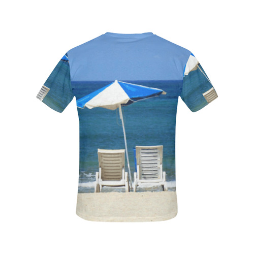 Beach Chairs Sandy Beach Tropical Nature All Over Print T-Shirt for Women (USA Size) (Model T40)
