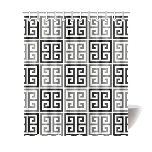 "Gray Black And White Greek Key Pattern Shower Curtain 72""x84"""