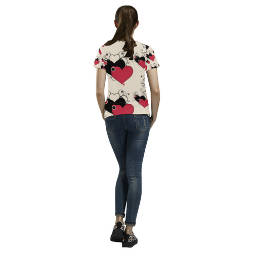 Red Black Valentine Hearts Pattern All Over Print T-Shirt for Women (USA Size) (Model T40)