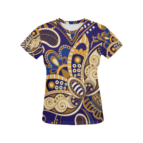 Beautiful Vintage Paisley Floral Ethnic Pattern All Over Print T-Shirt for Women (USA Size) (Model T40)