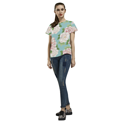 Pink Peonies Vintage Japanese Floral Kimono All Over Print T-Shirt for Women (USA Size) (Model T40)