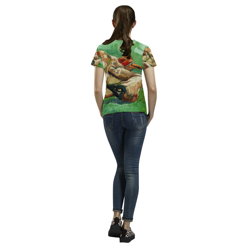 Van Gogh Crab On Its Back Fine Art All Over Print T-Shirt for Women (USA Size) (Model T40)