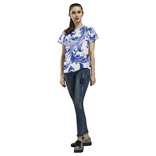 Blue White Porcelain Floral Pattern All Over Print T-Shirt for Women (USA Size) (Model T40)