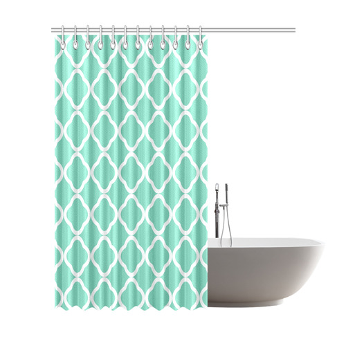 "Quatrefoil Waterleaf Blue Shower Curtain 72""x84"""
