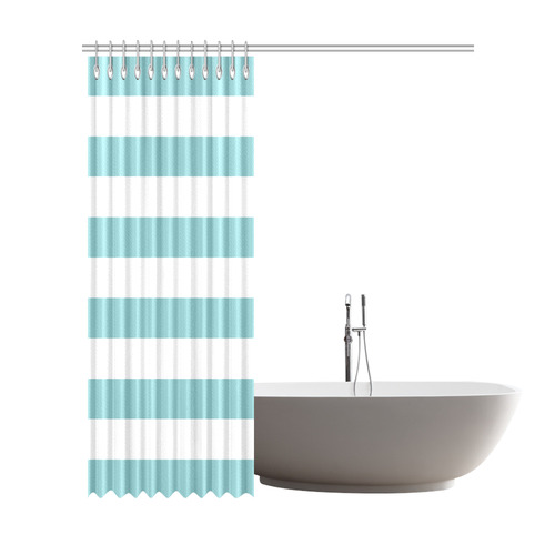 "Bold Blue And White Stripes Shower Curtain 72""x84"""