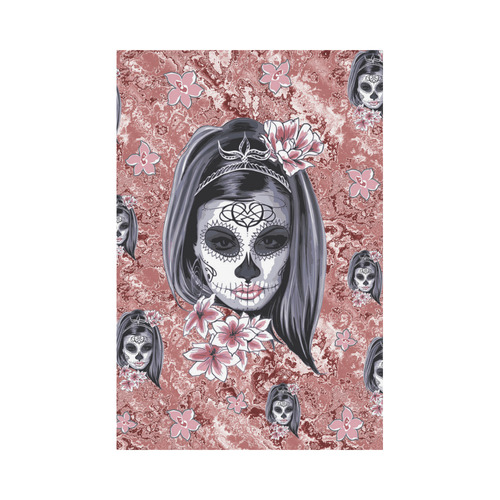 Skull Of A Pretty Flowers Lady Pattern Garden Flag 12''x18''(Without Flagpole)