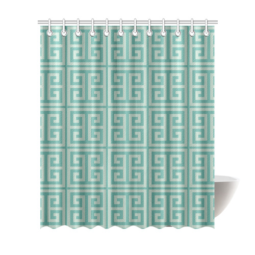 "Dusky Green Greek Key Pattern Shower Curtain 72""x84"""