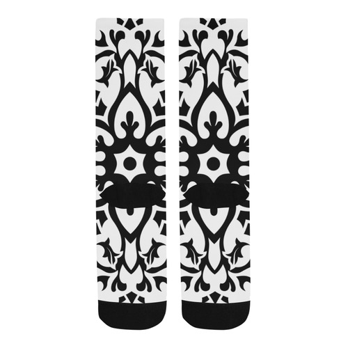Artistic knee socks : white black Trouser Socks
