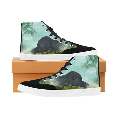 Sleeping wolf in the night Herdsman High Top Shoes for Women/Large Size (Model 038)