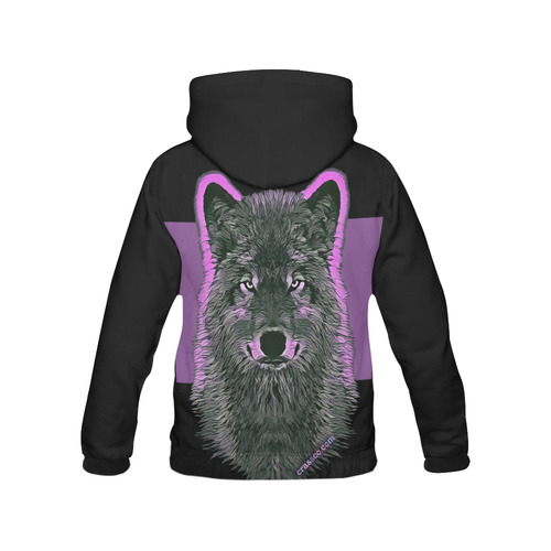 WOLF PINK All Over Print Hoodie for Women (USA Size) (Model H13)