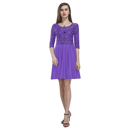 Designers dress : Purple with mandalas Tethys Half-Sleeve Skater Dress(Model D20)