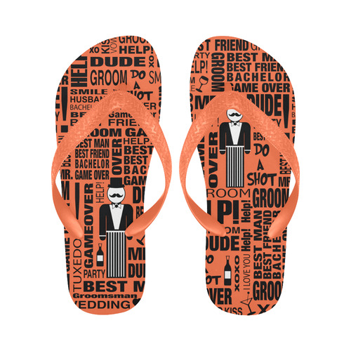 5a993f2acb63 GROOM Gift Wedding Best Man Gift Print Flip Flops Flip Flops for Men Women  (Model 040)