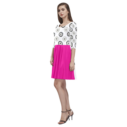 Ultra dots designers dress with Pink skirt Tethys Half-Sleeve Skater Dress(Model D20)
