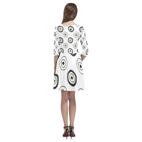 Ultra dots designers dress with Pink skirt Tethys Half-Sleeve Skater Dress(Model D20)