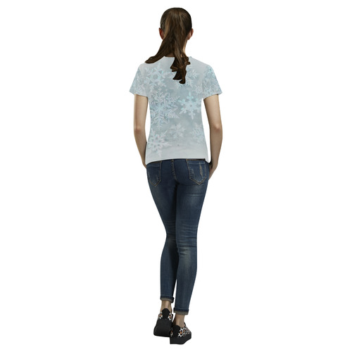 Snowflakes White and blue, Christmas All Over Print T-Shirt for Women (USA Size) (Model T40)