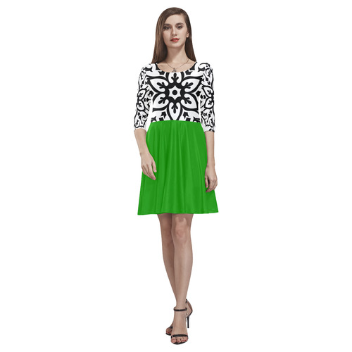 Luxury dress with Mandala art / with Green Tethys Half-Sleeve Skater Dress(Model D20)