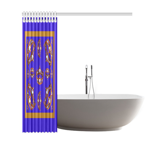 "Queen of Hearts Gold Crown Tiara scattered pattern blue violet iris shower curtain Shower Curtain 69""x70"""
