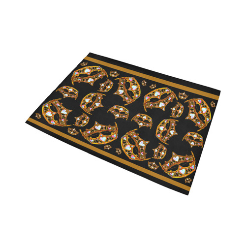 Queen of Hearts Gold Crown Tiara scattered pattern black rug Area Rug7'x5'