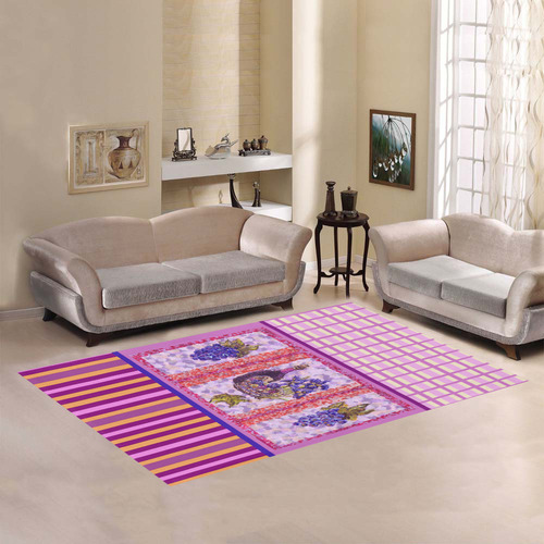 Grapes Wine Picnic With Plaid Stripes rug Area Rug7'x5'
