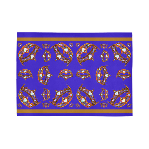 Queen of Hearts Gold Crown Tiara scattered pattern royal blue violet purple iris rug Area Rug7'x5'