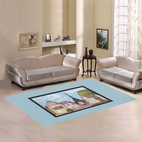 Paris Eiffel Tower inspired landscape painting light blue frame border rug Area Rug7'x5'