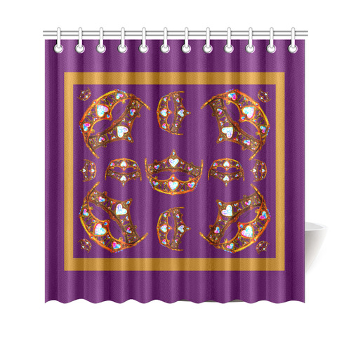 "Queen of Hearts Gold Crown Tiara scattered pattern royal purple background shower curtain Shower Curtain 69""x70"""