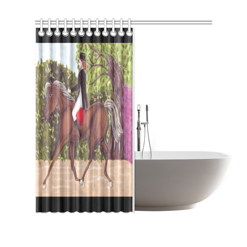 "Dressage Horse English Style Riding Shower Curtain Shower Curtain 69""x70"""