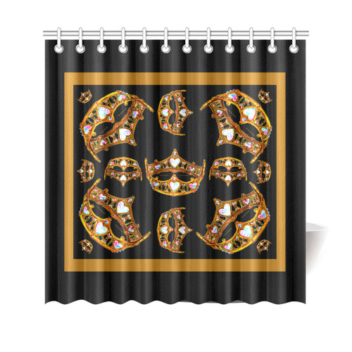 "Queen of Hearts Gold Crown Tiara scattered pattern black background shower curtain Shower Curtain 69""x70"""