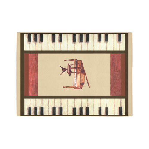 Piano keys Border Hepplewhite piano and chair bench rug Area Rug7'x5'