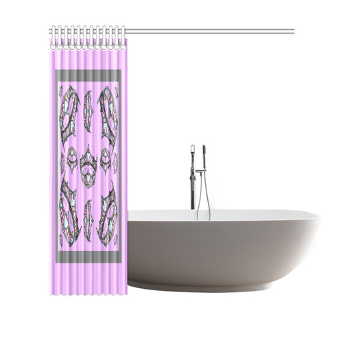 "Queen of Hearts Silver Crown Tiara scattered pattern pink lilac background shower curtain Shower Curtain 69""x70"""