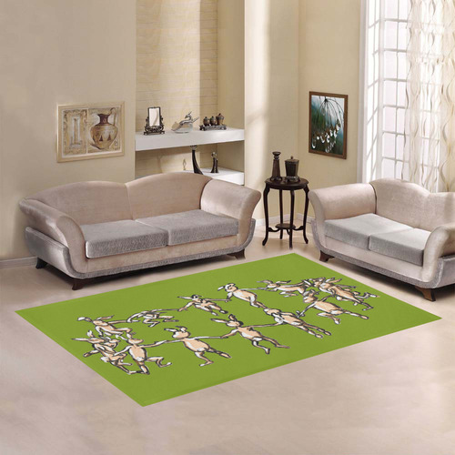 dancing easter bunnies rabbits on green grass rug Area Rug7'x5'