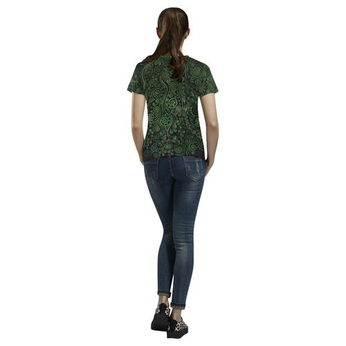 3D Psychedelic Abstract Fantasy Tree Greenery All Over Print T-Shirt for Women (USA Size) (Model T40)