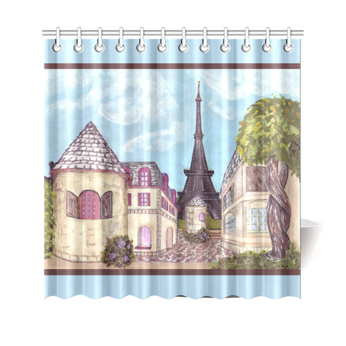 "Paris Eiffel Tower inspired landscape painting light blue border shower curtain Shower Curtain 69""x70"""