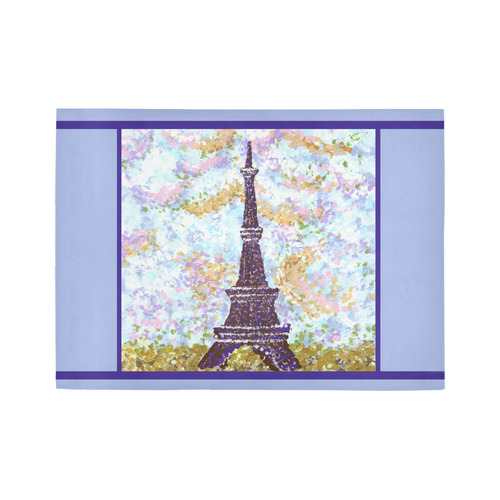 eiffel tower pointillism  light blue iris stripe rug Area Rug7'x5'