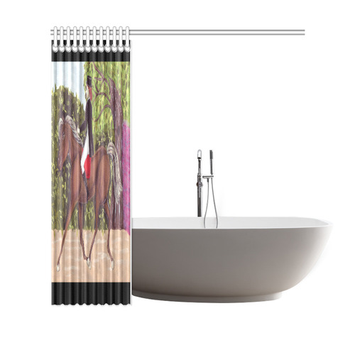 """Dressage Horse English Style Riding Shower Curtain Shower Curtain 69""""x70"""""""