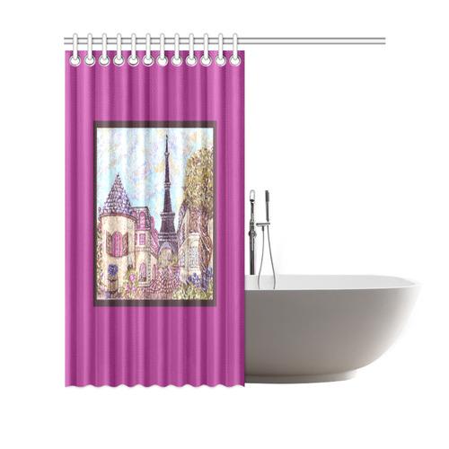 "Paris Eiffel Tower inspired pointillism landscape framed orchid border shower curtain Shower Curtain 69""x70"""