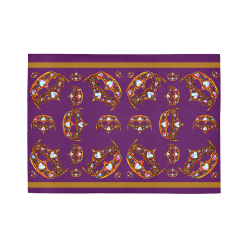 Queen of Hearts Gold Crown Tiara scattered pattern royal purple rug Area Rug7'x5'