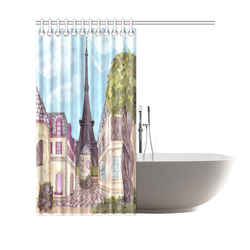 """Paris Eiffel Tower inspired landscape cityscape painting on shower curtain Shower Curtain 69""""x70"""""""