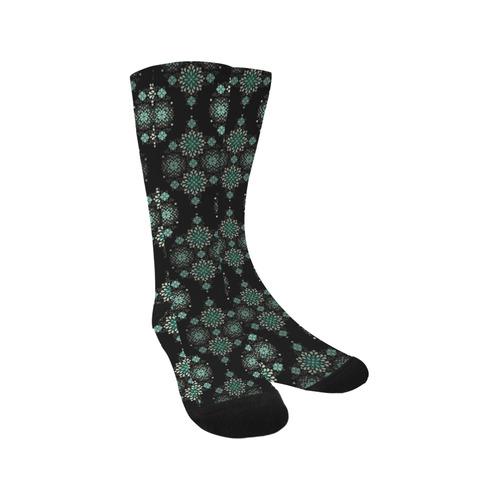 Green on black, pattern with atmosphere Trouser Socks