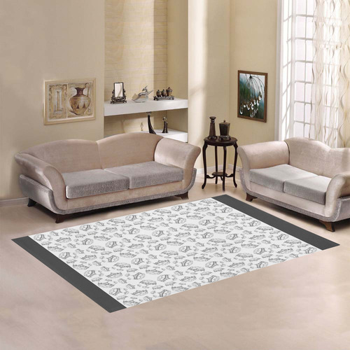 Queen Of Hearts Silver Crown Tiara By Kristie Hubler Pattern white and gray rug Area Rug7'x5'
