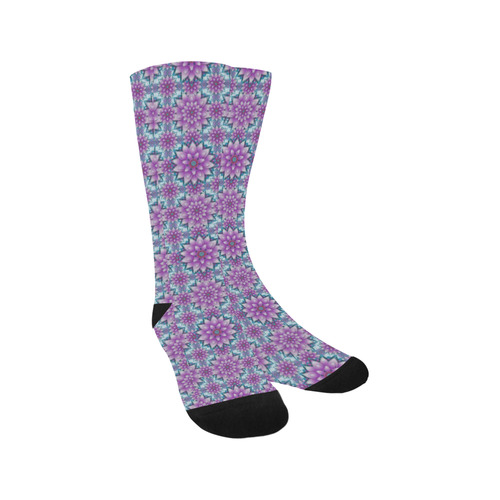 Lotus Flower Pattern, Purple and turquoise Trouser Socks