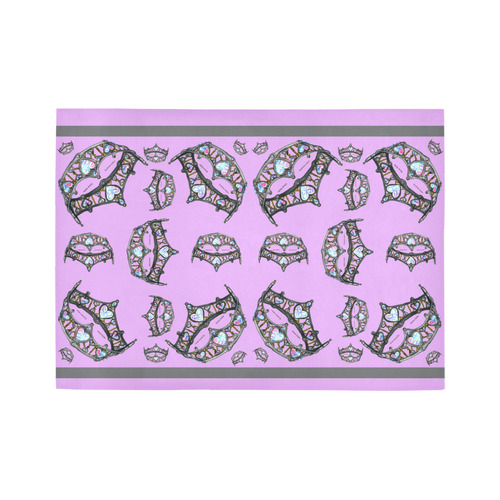 Queen of Hearts Silver Crown Tiara scattered pattern pink lilac rug Area Rug7'x5'