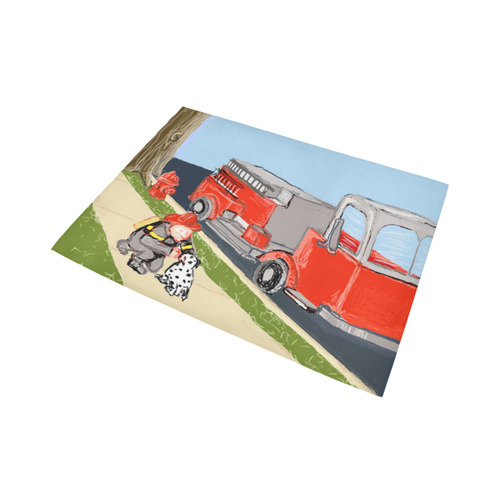Friendly Fireman And Dalmatian with fire engine truck rug Area Rug7'x5'