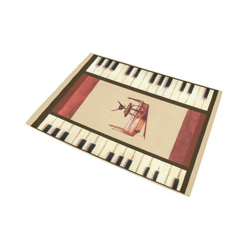 Piano keys Border Hepplewhite piano and chair bench rug Area Rug7'x5'