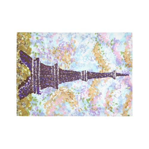 Eiffel Tower Pointillism landscape rug Area Rug7'x5'