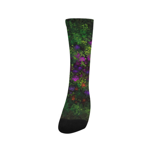 Wild Rose Garden, Oil painting. Red, purple, green Trouser Socks