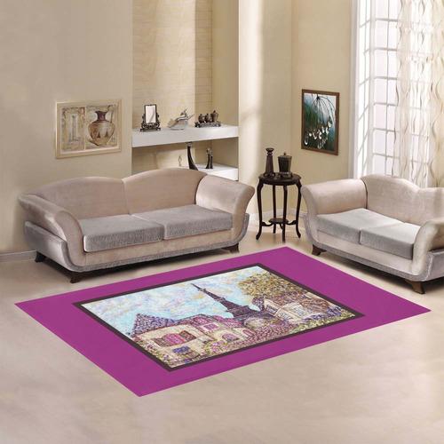 Paris Eiffel Tower inspired pointillism landscape orchid frame border rug Area Rug7'x5'